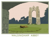 Walsingham abbey, posters, railway posters, Norfolk, Pilgrims,Bryan Harford